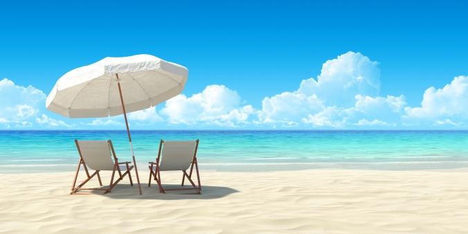 Beach chair and umbrella on sand beach. Concept for rest, relaxa